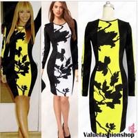 Spring 2014 Long Sleeve Floral Bandage Celebrity Party Print Dresses Knee Length Women Bodycon Casual Dress vestidos de fiesta