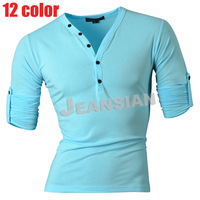 Mens Designer Casual V Neck T-Shirts Tee Shirt Slim Fit Muscle Retractable Sleeve t-shirt S M L XL D304