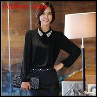 Fashion Autumn Rhinestone Elegant Ladies Chiffon Blouse Women's Long-sleeve Shirts with rhinestone neck Free Shipping B009