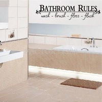 Free Shipping Removable Bathroom Rules Wall Sticker Vinyl Decal Home Decor 3[4007-331]