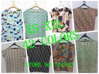 New 21 Colors!! XS-XXL, 2014 New Hot Sale Women Bird Colorful Batwing Sleeve Chiffon Shirt, Loose Blouse, A1228