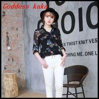 2014 new spring and summer women chiffon blouse round neck long sleeve chiffon flower print shirt Women tops Free Shipping B008