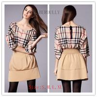 New hot! women's Summer and Autumn Elastic Bat sleeve dresses Fashion Grid lines The mini THB8086 free shipping