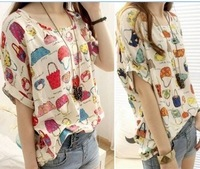 New arrival  new 2014 women's Summer new fashion print short-sleeve chiffion blouses shirts tops