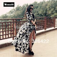 2014 Autumn Dot Print Cardigan Blouse Plus Size Shawl Dress Chiffon Long Maxi Princess Dress Women Summer Casual Dress 2014