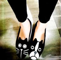 Fashion velvet cat dog flat women's shoes flat heel cat single shoes dog flats Plus Size