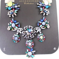 Quality Multicolor Sparkling Rhinestones Luxury Flower Pendant Women Party Necklace Short Chunky Chain Top Quality Party Jewelry