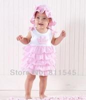 3pcs/Lot Wholesale Pink Crown Embroidered Little Girl Dress Cupcake Baby Vestido Infantil 2014 Bebe Clothing Toddler Outerwear