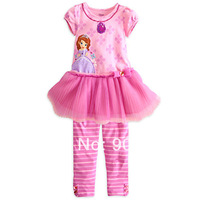 Free Shipping Children Clothing Girl's pink lace skirt shirt with stripe pants suit