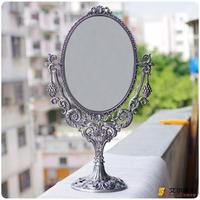 Oval bronze color fashion vintage mirror table mirror desktop makeup mirror vanity mirror double faced Large