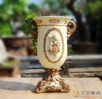Vintage carved rose fashion vase flower desktop large vase