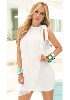 2014 Women Cool temperament thin white summer mini dress + Thongs  Beachwear Studio photo shoot clothing