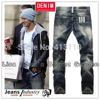 29-40#Y9003,New 2014 Italian Famous Brand Men's Blue Jeans,Fashion Designer Straight Large Size Denim Jeans Pants Perfume Men