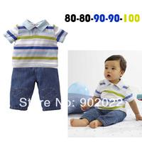 Free Shipping Children Clothing boy's causal stripe turn down collar shirt with denim carpi pants 2 piece set