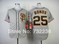 free shipping  cheap San Francisco  Giants  Men's #25 Barry Bonds Jersey SF Authentic Baseball  Grey SF Logo Baseball Jersey