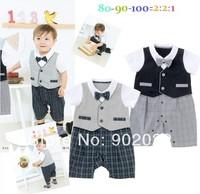 Free Shipping Children clothing Boy's short Sleeve gentleman fake vest Baby Romper