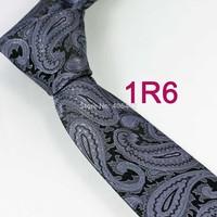 YIBEI Coachella ties Men's SKINNY Tie Black With Gray Paisley Necktie Woven SLIM Tie Narrow fashion Tie to Men Wedding Corbata