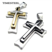TSN077912-13 Fashion 316L Stainless Steel Men's Cross Necklaces Black / Gold