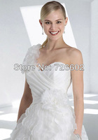 Free shipping single strap Sweet Heart collar halter-level luxury wavy trailing wedding dress Style No. 120206023