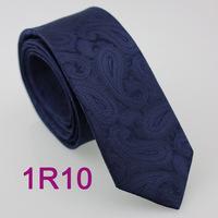 YIBEI Coachella ties Men's SKINNY Tie Navy Solid Color Paisley Necktie Woven SLIM Tie Narrow fashion Tie to Men Wedding cravate