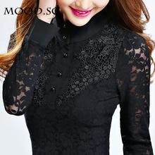rendas camisa básica das mulheres de manga comprida 2014 primavera chiffon camisa preta de gola alta renda(China (Mainland))