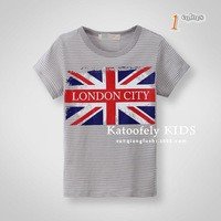 New arrival 2014 Kids boys Summer Tops Children Striped Printing t-shirt 2-8 years old boys