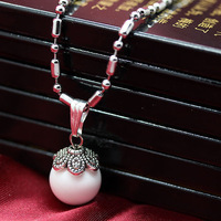 TOP quality,fashion new women & men natural crystal pink stone bead silver stainless steel necklace,lover jewelry,free shipping
