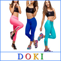 Summer Woman Sport Neon Leggings Elastic Solid Gym Candy Leggins Sexy Lady Capri Pants Women Legging with Zipper L XL