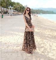 2014 new arrival Dark V-neck summer chiffon long dress leopard dress Bohemian beach dress women S M L