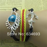 Wholesale Crystal Rhinestones Hamsa with Evil Eye Anchor Bracelet