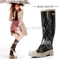 2014 Brand New Womens Fashion Dot Star Lace Style Rubber Rainboots Waterproof Knee High Flat Heels Rain Boots Water Shoes #TS32