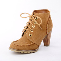 Winter thick heel boots female lacing shoes high-heeled boots martin boots genuine leather boots with a single