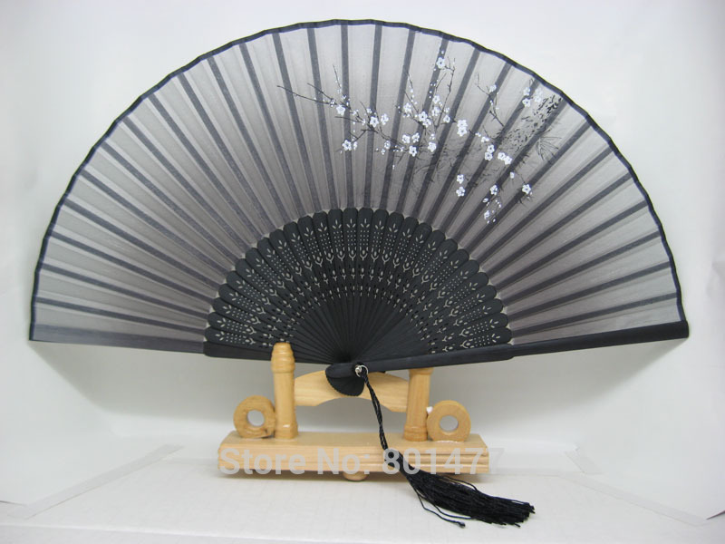 Plum Flower Hand Held Silk Bamboo Folding Fan With Fringes Wedding Favor HSF60a,free shipping(China (Mainland))