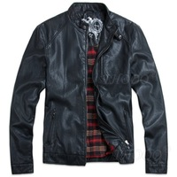 THOOO Brand New HOT GENTLEMEN'S Black pu leather classic fashion Slim Coat Motorcycle jacket szie M L XL 2XL 3XL 4XL 5XL