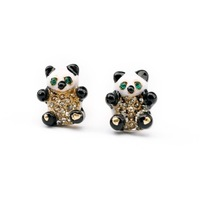 New Design Fashion Accessories Small Crystal Panda Women Earrings Cute Love Girl Fashion Cheap Jewelry Wholesale And Retail Hot