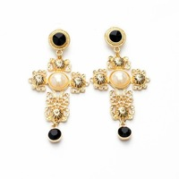Exaggerated Top Fashion Big  Cross Female Earrings Elegant Sexy Design For Women Ball Party Dress European Fashion Brand Quality