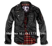 THOOO Brand New HOT GENTLEMEN'S classic fashion Slim Black pu leather Jacket Coat size:M-5XL