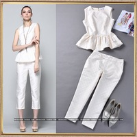 2014 spring and summer women's runway fashion noble elegant ruffle hem vest top and trouser casual set