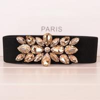 New arrival 2014 Crystal Inlaying Cummerbund Female Elastic Wide Belt Vintage Diamond Decoration Strap For Women