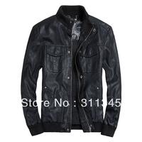 THOOO New HOT GENTLEMEN'S Black Brown coffee pu faux leather fashion Slim Coat Motorcycle jacket szie 7sizes TM201309013