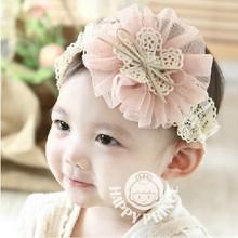 2014 Free Shipping Retail 1pcs Newborn Baby Bow Flower Hairband Baby Girls Tulle Flower Headband Infant Headdress(China (Mainland))