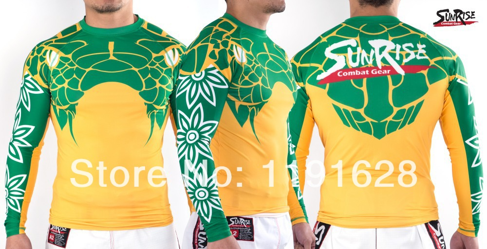 Men's Long Sleeve Rash Guard Surf Shirt Sports MMA BJJ Grappling Rash Guard(China (Mainland))