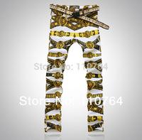 Jeans Men 2014 Print Colored Drawing Top COOL Male Denim Pants Gloden Lion Printed Pants Mens Long Trousers Plus Size