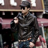 THOOO Men's clothing short design motorcycle PU clothing stand collar slim male leather clothing male leather jacket coat