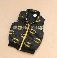 RETAIL Baby Waistcoat Autumn Boy's Superman Outerwear Dark brown top Zipper Coat Vest Kids clothing 2-3 years good Drop shipping