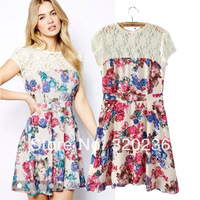 Free shipping !  2014 Girls Women's Flower Print Pearl Decorate Lace Patchwork Dress ladies fashion dress evening dress