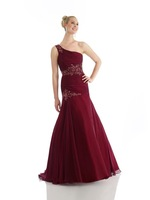 One Shoulder Red Chiffon Trumpet Mermaid Prom Dress