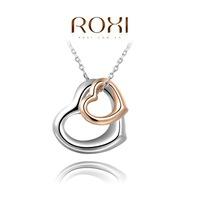 Wholesale ROXI Fashion Accessories Jewelry Double Heart Double Color Pendant Necklace for Women