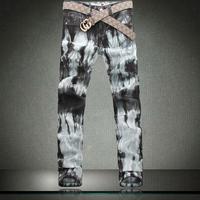New Arrival Trendy Men's printing jeans Contrast Color Korea Style Slim fit fashionable boy Trousers Larger Size Pants