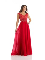 V Neck Red Chiffon A Line Prom Dress